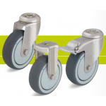 Stainless steel castors with bolt hole and thermoplastic rubber tread