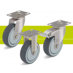 Stainless steel castors with fixing plate and thermoplastic rubber tread