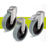 Stainless steel castors with bolt hole and solid rubber tires