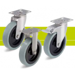 Stainless steel castors with fixing plate and solid rubber tires
