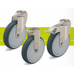 Stainless steel castors with bolt hole and thermoplastic polyurethane tread