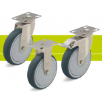Stainless steel castors with fixing plate and thermoplastic polyurethane