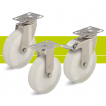 Stainless steel castors with fixing plate made ??of polyamide