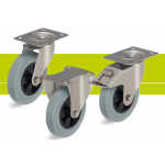 Stainless steel castors with top plate and standard solid rubber tires