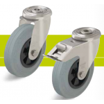 Stainless steel castors with bolt hole and standard solid rubber tires