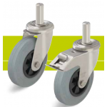 Stainless steel castors with stem and standard solid rubber tires