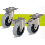Stainless steel castors with top plate and elastic solid rubber tires