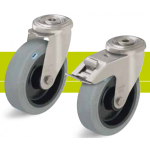 Stainless steel castors with bolt hole and elastic solid rubber tires
