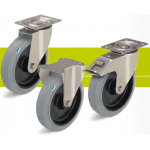 Stainless steel medium duty castors with fixing plate and elastic solid rubber tires