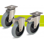 Stainless steel heavy duty castors with fixing plate and elastic solid rubber tires