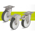 Stainless steel castors with top plate and thermoplastic polyurethane tread