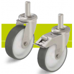 Stainless steel castors with stem and thermoplastic polyurethane tread