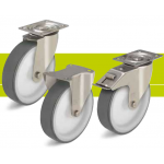 Stainless steel medium duty castors with fixing plate and thermoplastic polyurethane tread