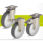 Stainless steel heavy duty castors with fixing plate and thermoplastic polyurethane tread