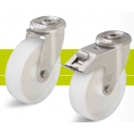 Stainless steel castors with bolt hole and nylon wheel