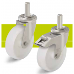 Stainless steel and nylon wheel castors with stem