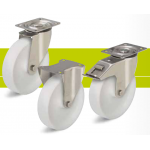 Stainless steel medium duty castors with screw and nylon wheel