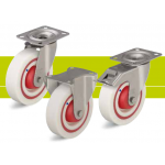 Stainless steel castors with top plate and quiet nylon wheel