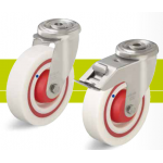 Stainless steel castors with bolt hole and quiet nylon wheel