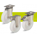 Stainless steel heavy duty castors with fixing plate and heavy duty nylon wheel