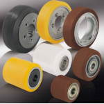 Wheels and castors for pallet trucks, forklifts and other industrial vehicles