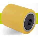 Rollers for pallet trucks spray and splash-proof polyurethane tread