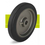 Heavy duty drive wheels with hub keyway, elastic solid rubber tires and cast iron wheel center