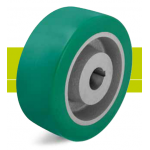 Heavy duty drive wheels with hub keyway, polyurethane tread Softhane and cast iron wheel center