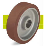 Heavy duty drive wheels with hub keyway, polyurethane tread Besthane and cast iron wheel center
