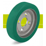 Heavy duty hub with polyurethane tread Softhane and cast iron wheel center