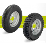 Bell-wheels with pneumatic tires on steel rims