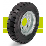 Bell-wheels with super-elastic solid rubber tires on steel rims